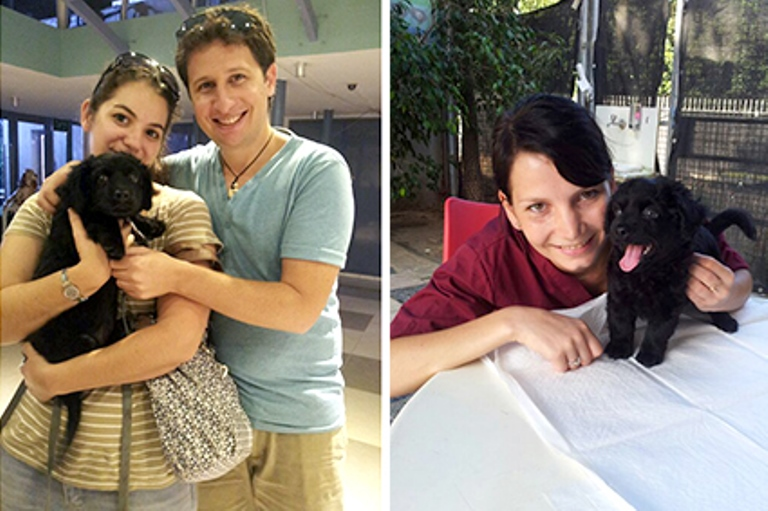 מימין: בוני עם אנה אסיסטנטית המרפאה ומשמאל עם אופיר ונתנאל