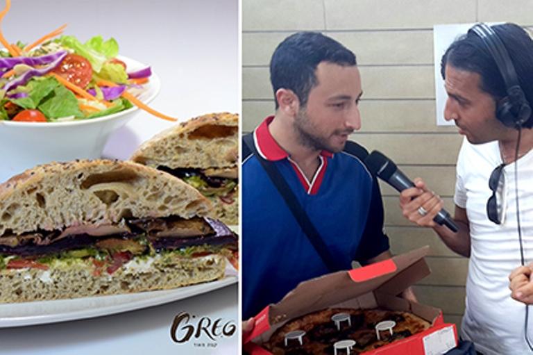 תודה על הכיבוד הטבעוני. מימין: דומינו'ס פיצה, משמאל: רשת קפה גרג