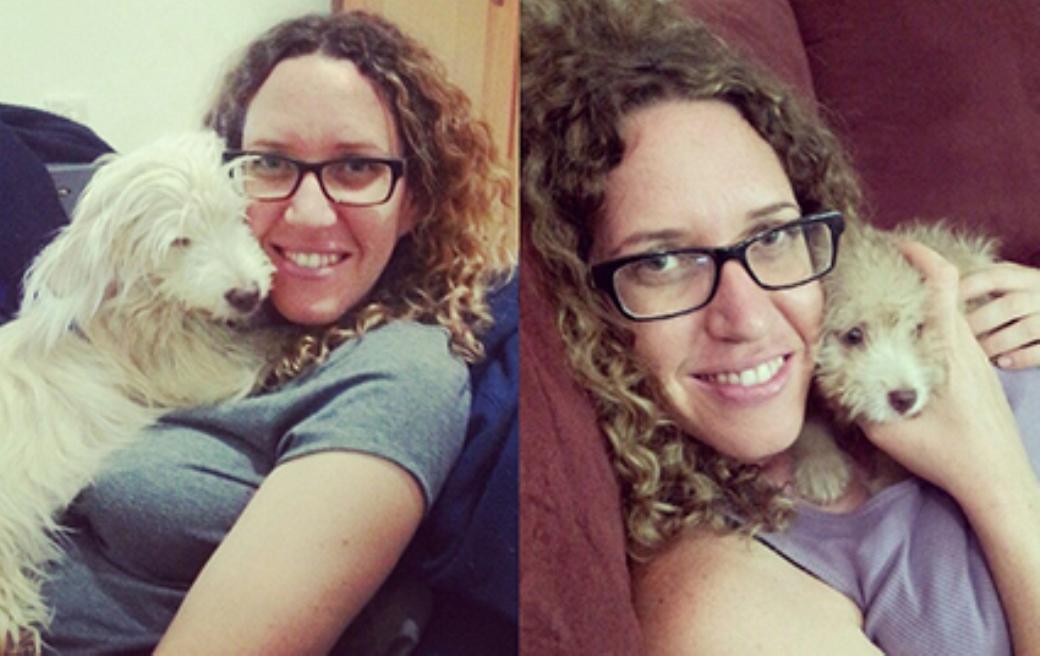 נעמה עם כלבתה לייני: בגיל חודש וחצי ובגיל עשרה חודשים.